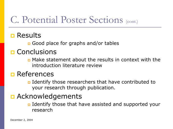 C. Potential Poster Sections