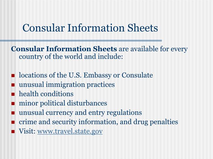 Consular Information Sheets