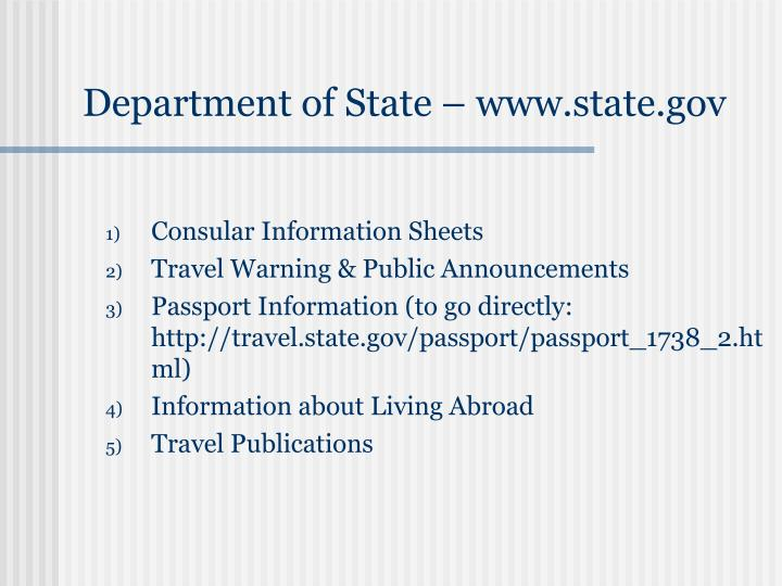 Department of State – www.state.gov