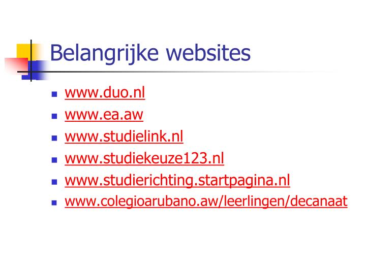 Belangrijke websites