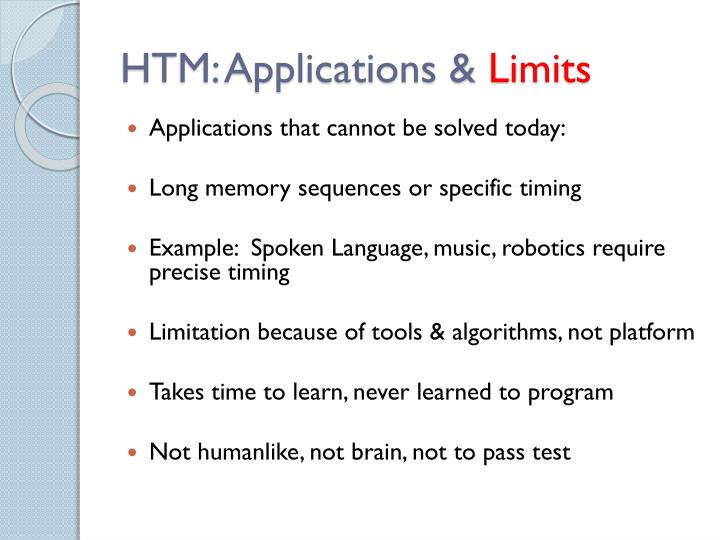 HTM: Applications &