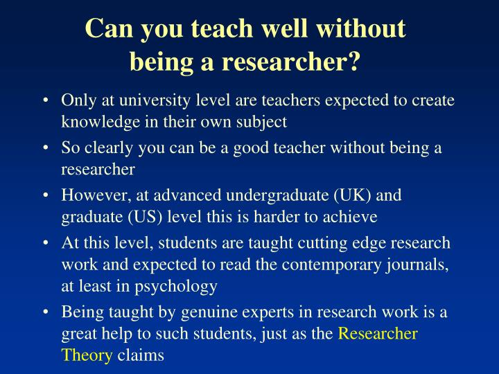Can you teach well without