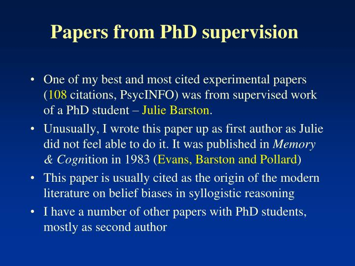 Papers from PhD supervision