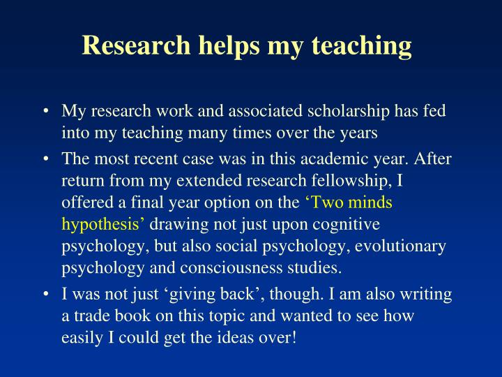 Research helps my teaching