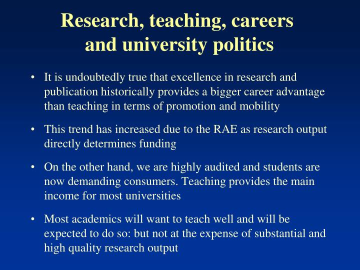Research, teaching, careers