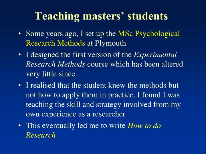 Teaching masters' students