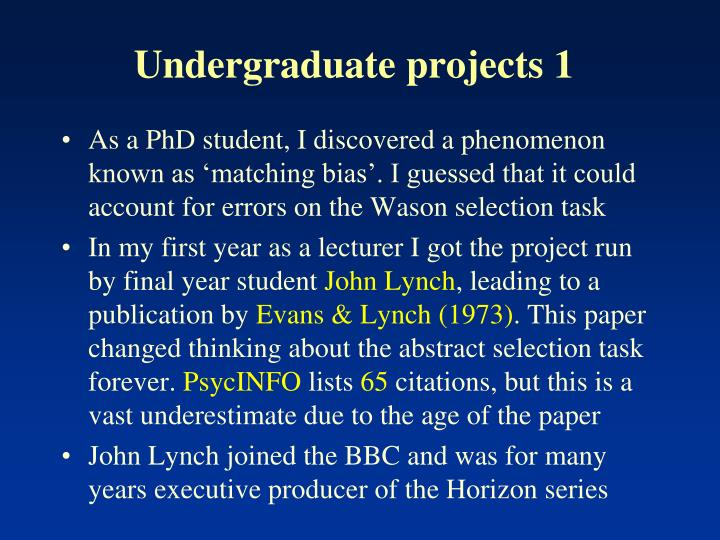 Undergraduate projects 1