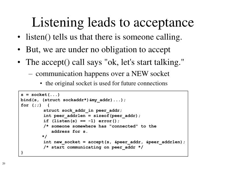 Listening leads to acceptance