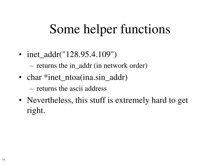 Some helper functions