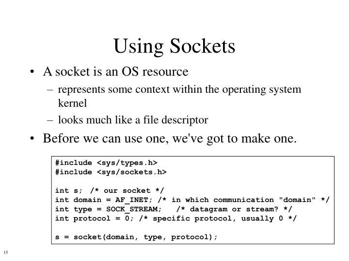 Using Sockets
