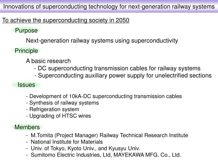 Innovations of superconducting technology for next-generation railway systems