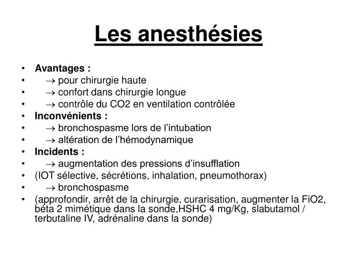 Les anesthésies