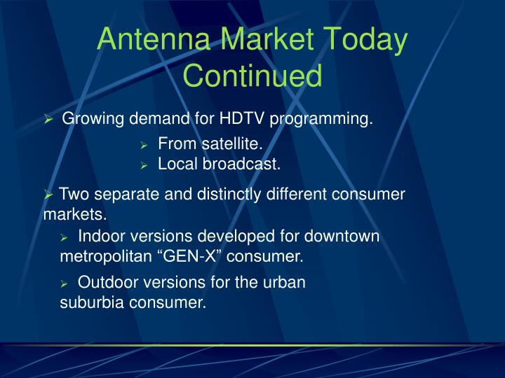 Antenna Market Today Continued