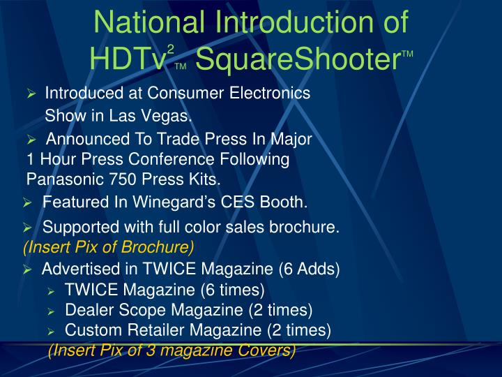 National Introduction of HDTv