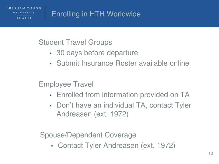 Enrolling in HTH Worldwide