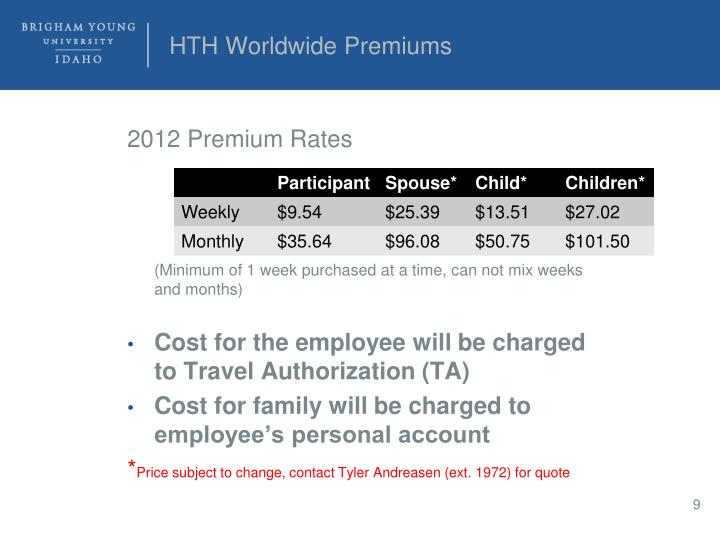 HTH Worldwide Premiums