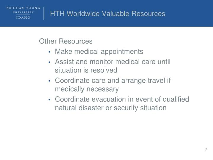 HTH Worldwide Valuable Resources
