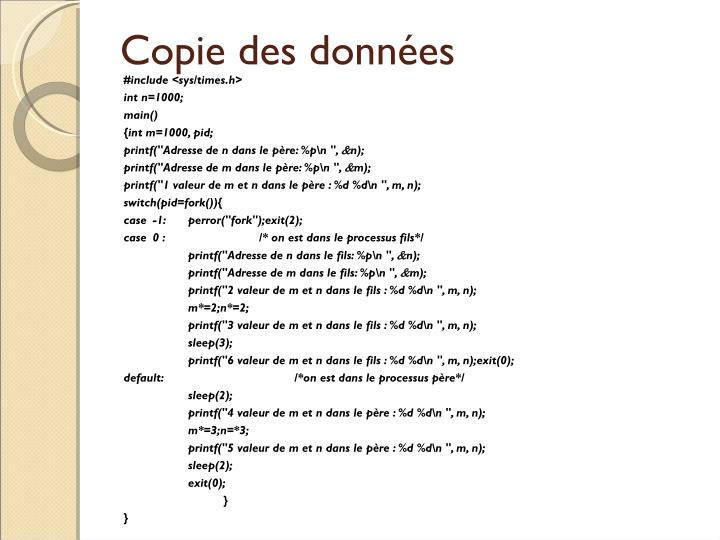 Copie des données