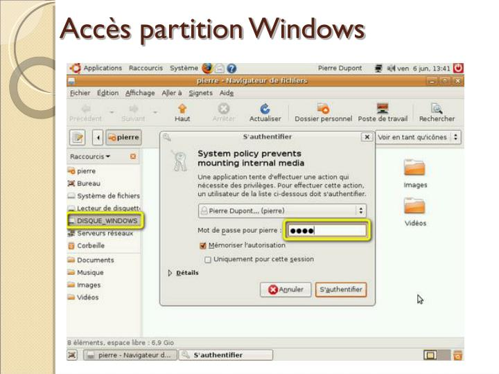 Accès partition Windows