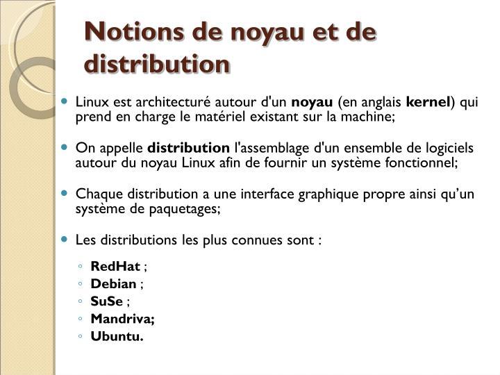 Notions de noyau et de distribution