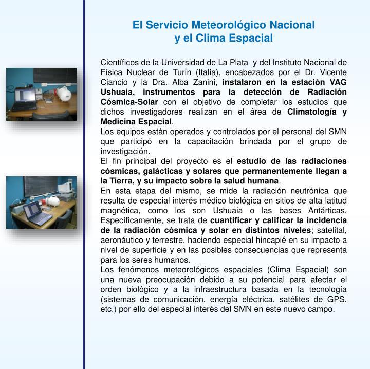 El Servicio Meteorológico Nacional