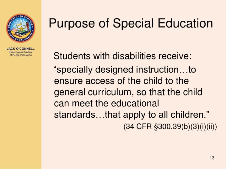 Purpose of Special Education