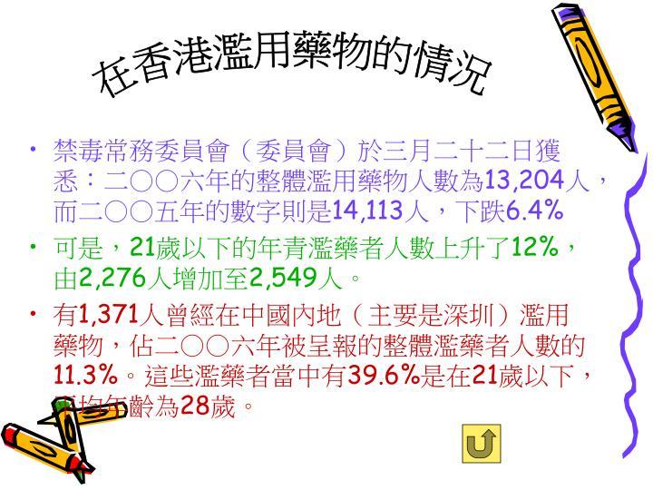 在香港濫用藥物的情況
