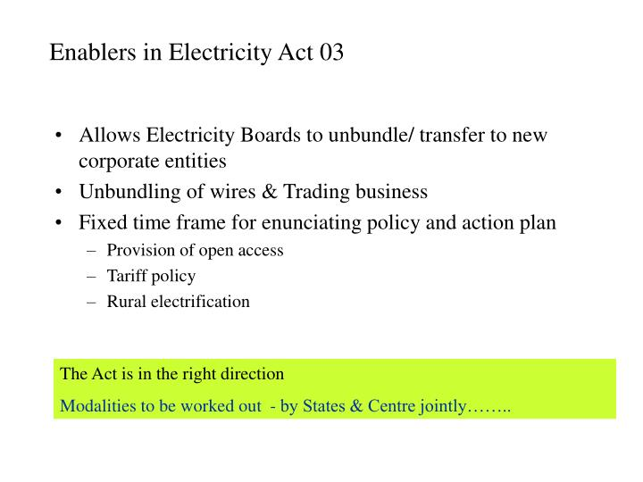 Enablers in Electricity Act 03