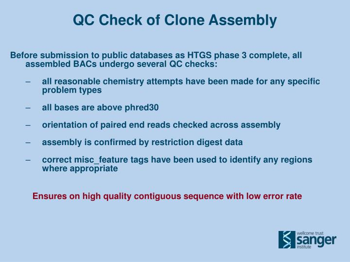 QC Check of Clone Assembly