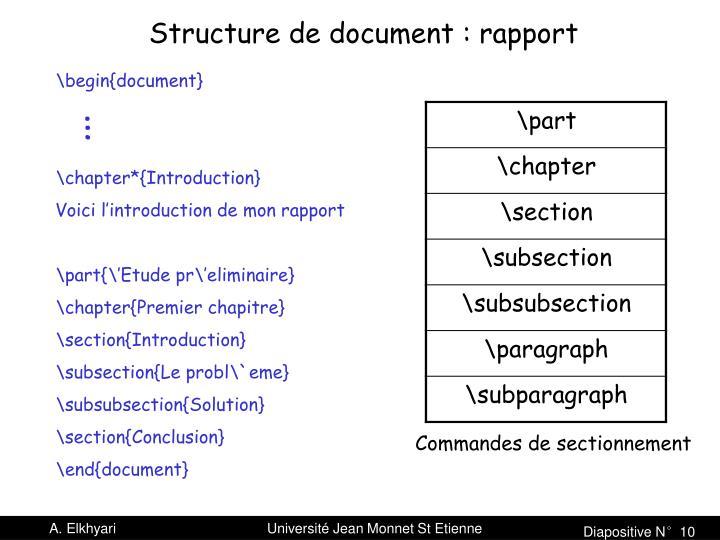 Structure de document : rapport