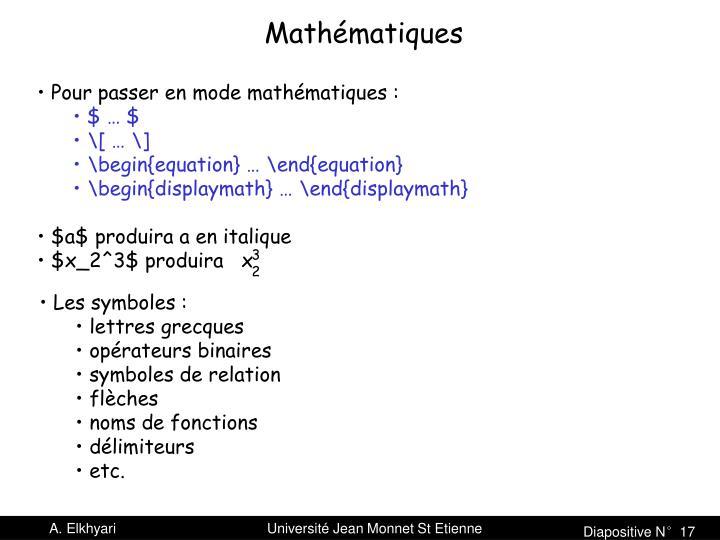 Pour passer en mode mathématiques :