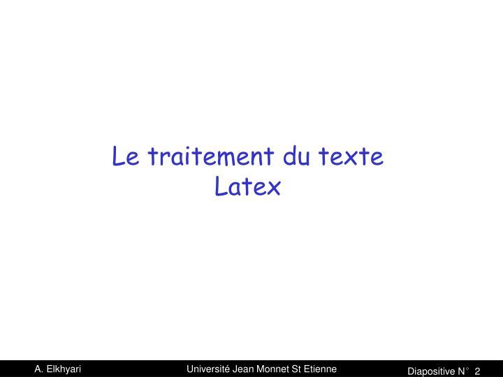 Le traitement du texte