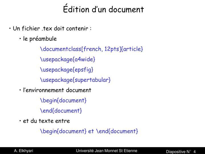 Édition d'un document
