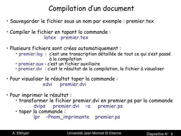 Compilation d'un document