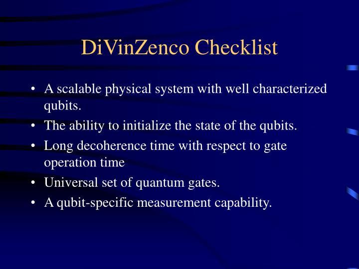 DiVinZenco Checklist