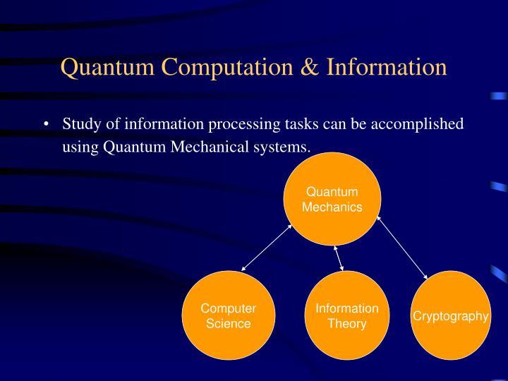 Quantum Computation & Information