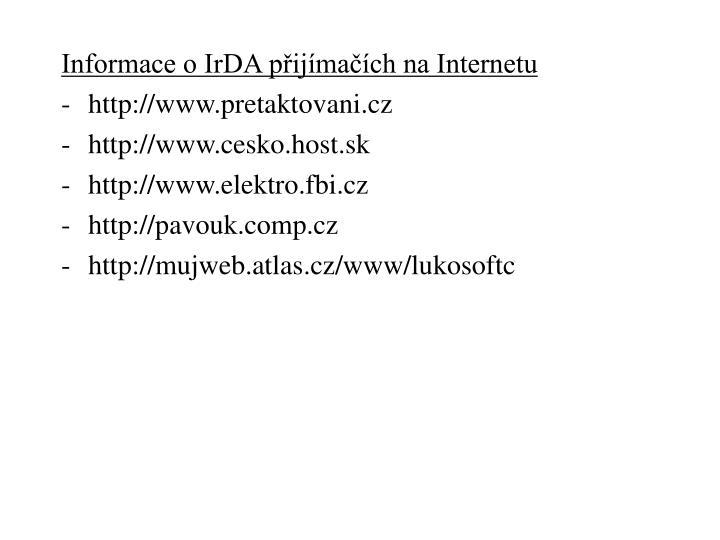 Informace o IrDA přijímačích na Internetu