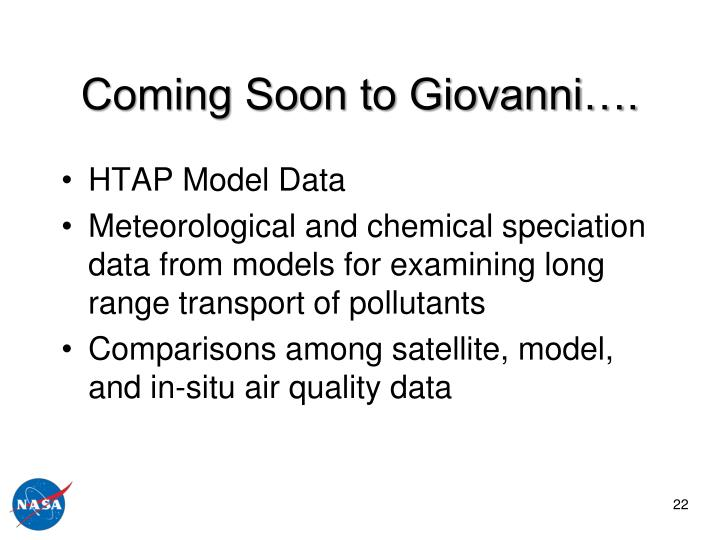 Coming Soon to Giovanni….