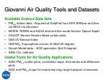 giovanni air quality tools and datasets