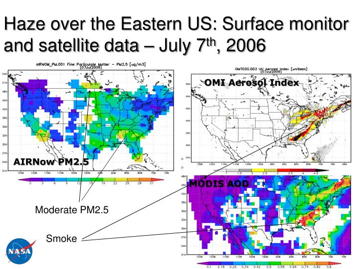 Haze over the Eastern US: Surface monitor and satellite data – July 7