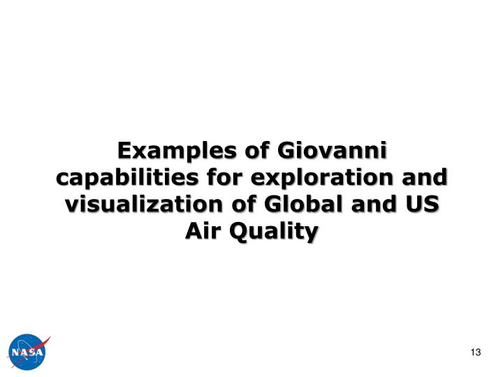 Examples of Giovanni capabilities for exploration and visualization of Global and US Air Quality