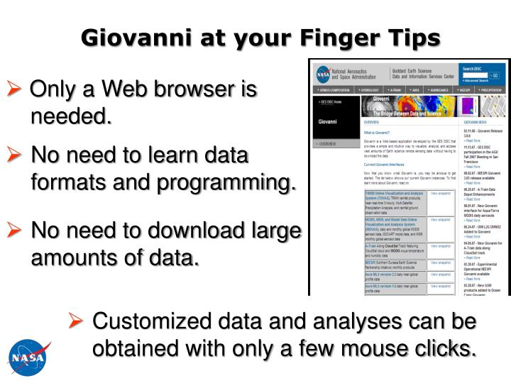 Giovanni at your Finger Tips