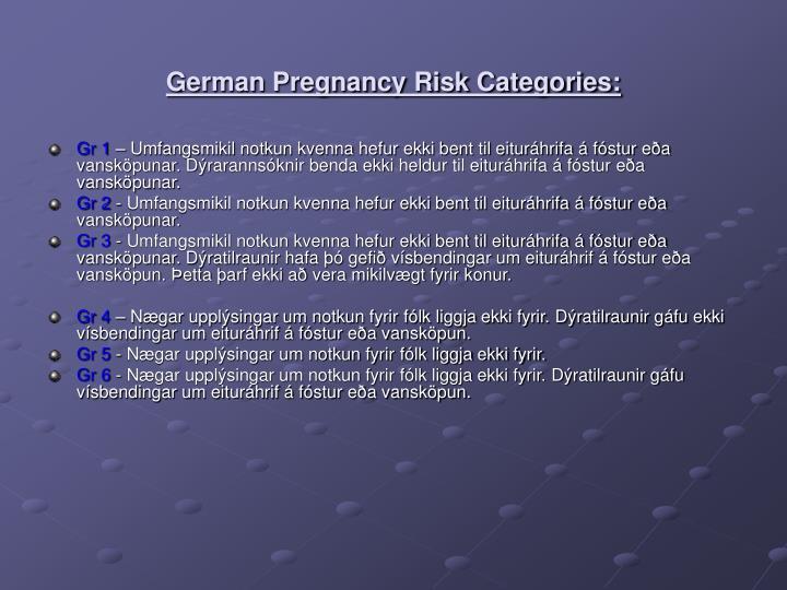 German Pregnancy Risk Categories: