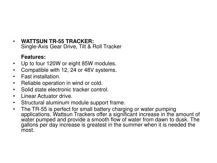 WATTSUN TR-55 TRACKER: