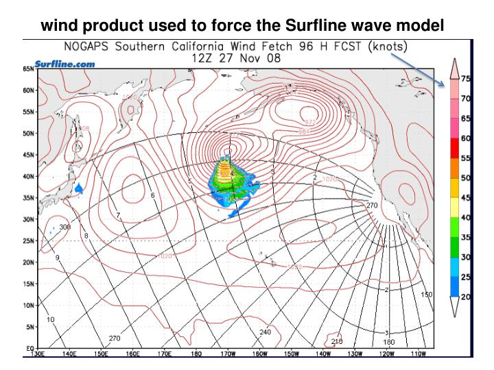 wind product used to force the Surfline wave model
