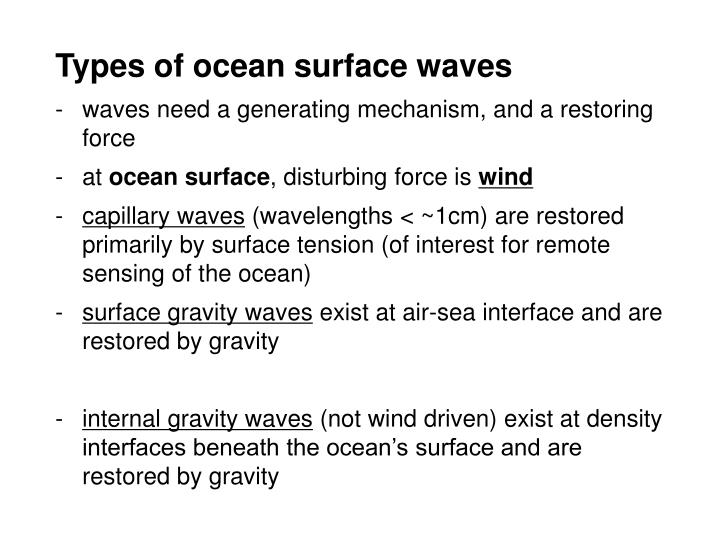 Types of ocean surface waves