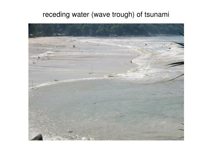 receding water (wave trough) of tsunami