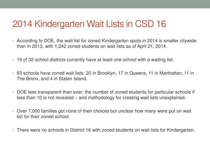 2014 Kindergarten Wait Lists in CSD 16