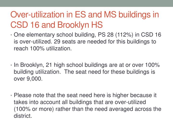 Over-utilization in ES and MS buildings in CSD 16 and Brooklyn HS