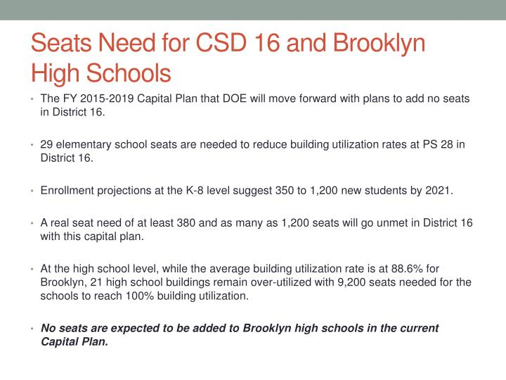 Seats Need for CSD 16 and Brooklyn High Schools
